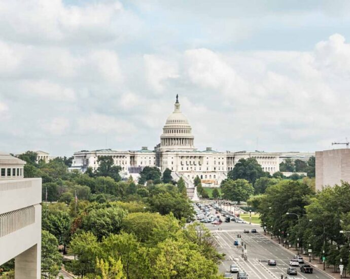 View of the U.S. capitol building in Washington, D.C. with trees and street activity.