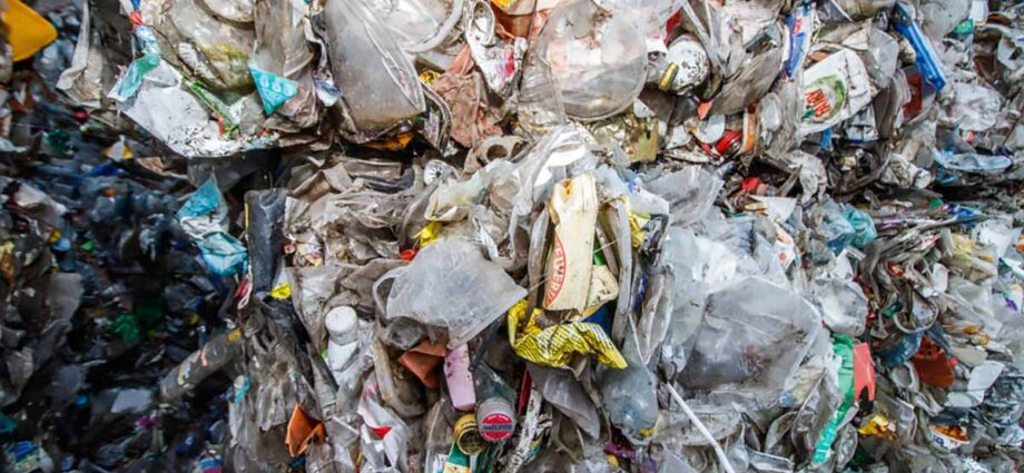 Plastic baled for recycling.