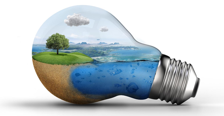 landscape within a light bulb