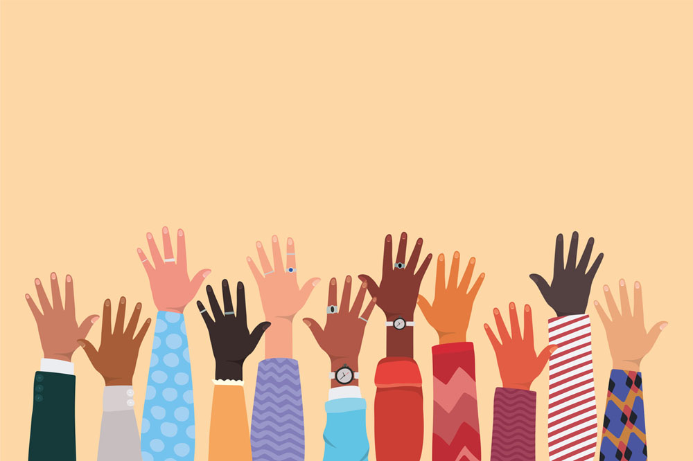 Diversity of open hands up design, people multi-ethnic race and community theme.