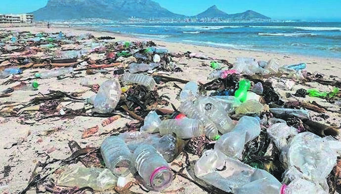 An exceptionally high density of mainly PET (a type of versatile plastic) bottles stranded near the mouth of the Riet River in Milnerton. PHOTO: Peter Ryan