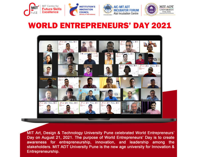 World Entrepreneurs' Day celebrated at MIT-ADT University Pune to recognize entrepreneurs, innovators, and business leaders