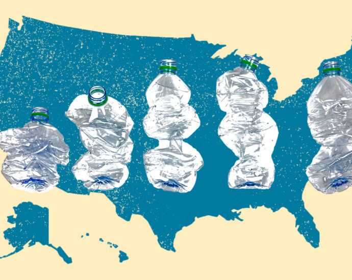 Collage: Silhouette of the United States with crushed plastic bottles