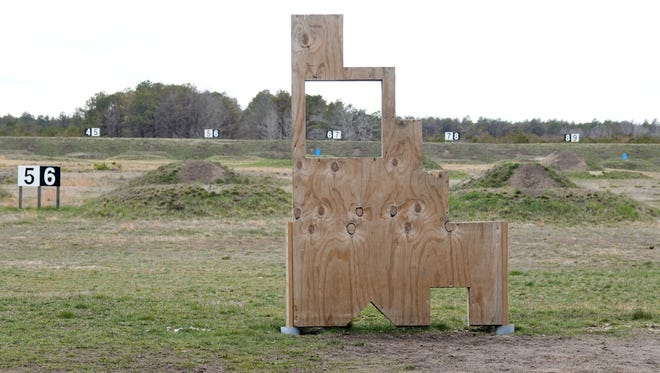 Sierra range at Joint Base Cape Cod in April. The object in the foreground is to help those practicing shooting with different stances.