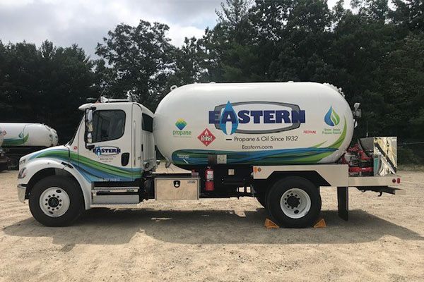 Eastern Propane & Oil of Rochester, New Hampshire, displays propane's new identity on a propane-powered bobtail and its service tech vans. It plans to refresh the look of its sales team trucks next. Photo by Nathan McShinsky