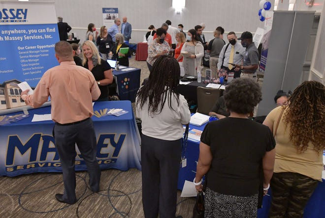 A steady stream of job seekers made their way through the booths of about 30 Jacksonville employers at the Job News USA job fair Aug. 26 at the Doubletree by Hilton Jacksonville Riverfront.