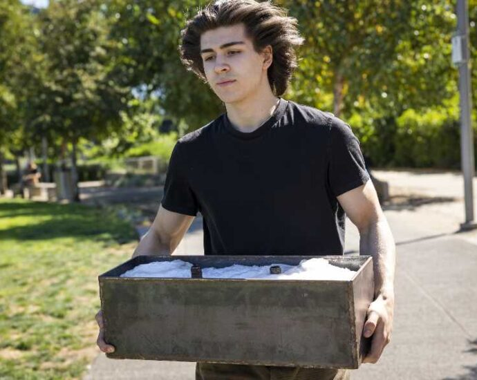 Pamplin Media Group - Portland student recycles plastic into bricks for homeless huts